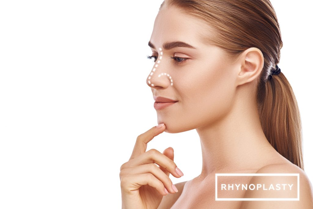 Woman touching face graphic for rhinoplasty Beverly Hills
